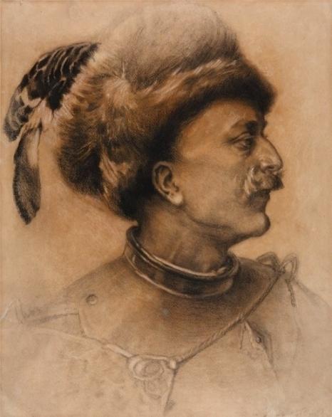 Piotr Stachiewicz (1858-1938), Wołodyjowski, 1898 r., węgiel, papier, Muzeum Narodowe w Kielcach, oddział Pałacyk Henryka Sienkiewicza w Oblęgorku