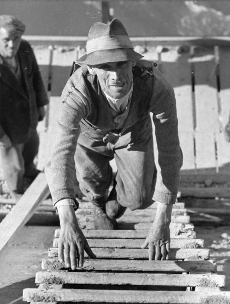 Budowa zapory wodnej w Rożnowie na Dunajcu. Jeden z robotników wchodzi po drabinie na szczyt ściany zapory, 08.1939, foto: koncern IKC, zbiory Narodowego Archiwum Cyfrowego, sygn.: 1-G-4469-7