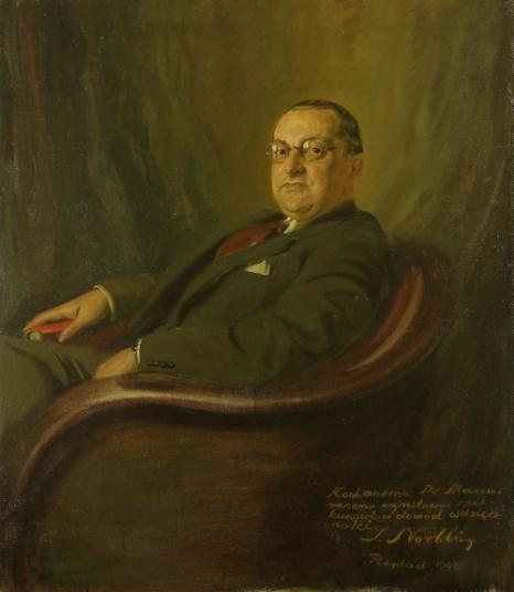 """Stefan Norblin, """"Portret Maxa Makowskiego, 1941, olej na płótnie, 115x100 cm, sygn.. p.d"""